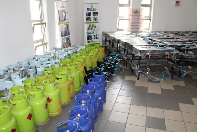 Gas cookers and cylinders ready for donation by the GTHI