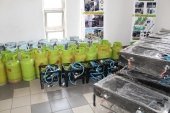 Gas cookers and cylinders ready to go!