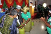 Inspecting LPG cylinders at the launch of Project Mama Put