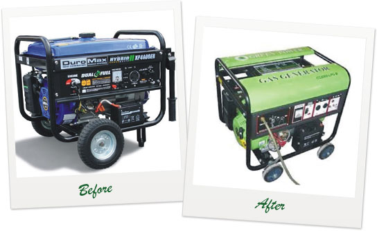 LPG powered generators are very reliable, emit very little fumes.
